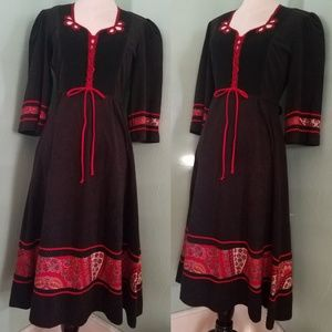 Vintage 70s German Dirndl Ric Rac Black Dress